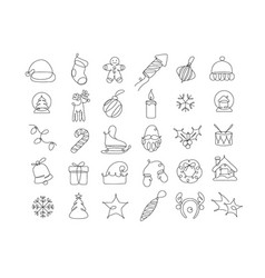 Pen line drawing christmas icons vector