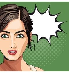 pop art woman beauty bubble speech dotted vector image