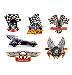 racing sport club motor cars flag icons vector image