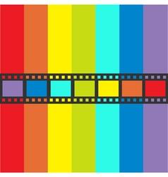 Rainbow flag Film strip frame Straight shape vector image
