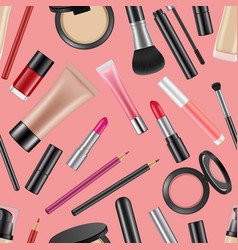realistic makeup elements pattern vector image