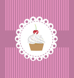 retro cupcake background vector image