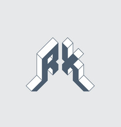 Rx - monogram or logotype isometric 3d font for vector