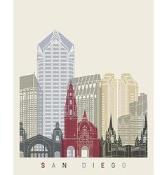 San Diego skyline poster vector