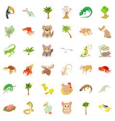 Sand animal icons set cartoon style vector