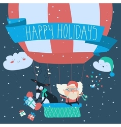Santa Claus flying in a hot air balloon with vector