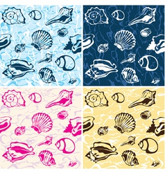 seamless seashell background marine pattern vector image