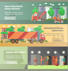 Set of delivery horizontal banners in flat vector
