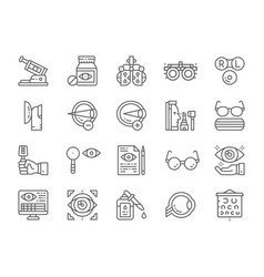 Set optometry line icons vitamins optical vector