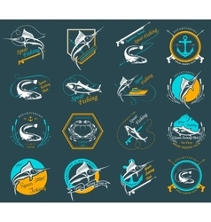 Set Spearfishing Logos and Badges vector