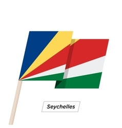 Seychelles ribbon waving flag isolated on white vector