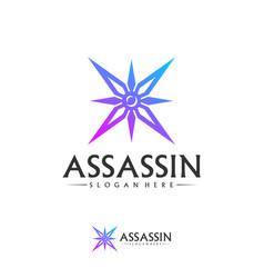 Shuriken logo design template assassin logo vector