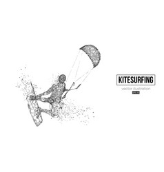 silhouette a kitesurfer kitesurfing hydrofoil vector image