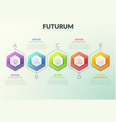 six separate hexagonal elements placed in vector image