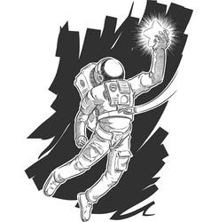 Sketch astronaut or spaceman grabbing a star vector