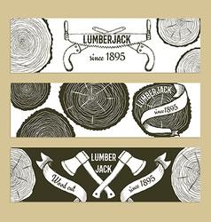Sketch lumberjacks set of banners vector