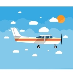 Small airplane in air with sky clouds and sun vector
