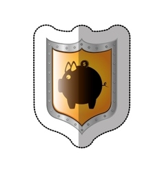 Sticker shield with silhouette money box with coin vector