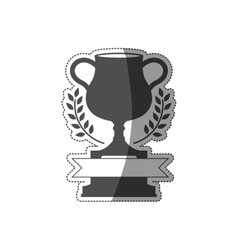 Sticker trophy cup in monochrome with ribbon vector