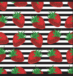 striped seamless pattern strawberries vector image