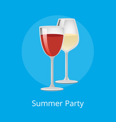 summer party poster glasses elite red white wine vector image