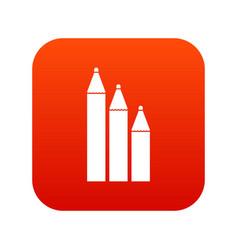 three pencils icon digital red vector image