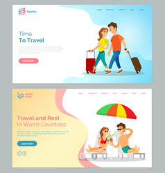 time to travel people with baggage walking web vector image