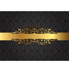 Vintage gold frame on damask black background vector image