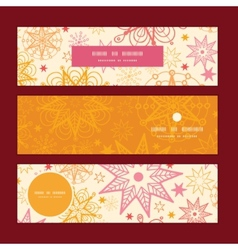 Warm stars horizontal banners set pattern vector
