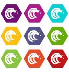 Wave of sea tide icon set color hexahedron vector