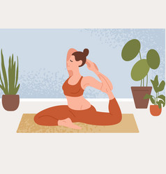 Woman perform flexibility sit in yoga pose vector