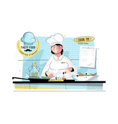 woman sushi chef at kitchen vector image