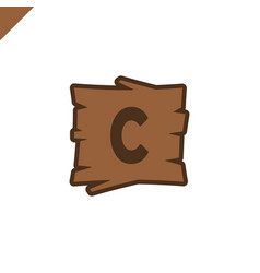wooden alphabet or font blocks with letter c in vector image