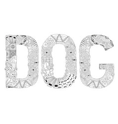 Word dog for coloring decorative zentangle vector