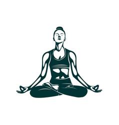 yoga logo design template health care beauty spa vector image