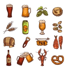 Beer Sketch Set vector image