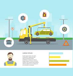cartoon car evacuation service card vector image vector image
