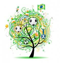 football tree design Brazilian flag vector image