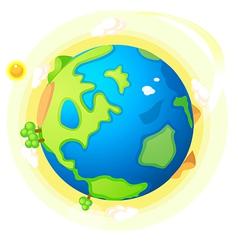 Globe landscape and sun vector image
