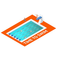 isometric people diving into water in to the vector image vector image