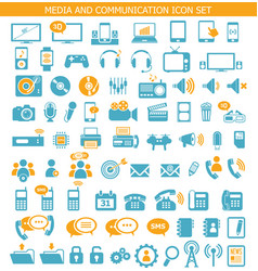 Media and communication icon set vector