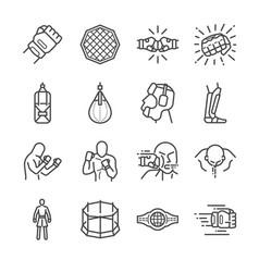 mma mixed martial arts icon set vector image