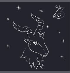 white outline of capricorn are on black background vector image