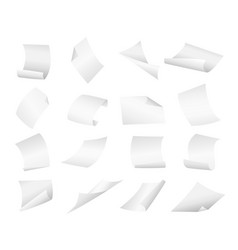 blank paper sheets falling down on vector image
