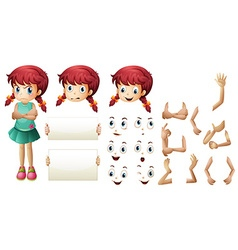 Girl set with different hand gestures and facial vector image vector image