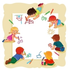 Happy children together draw on a large sheet of vector image