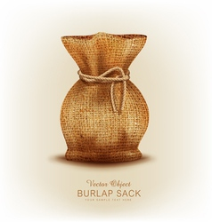 object - burlap bag tied a rope vector image