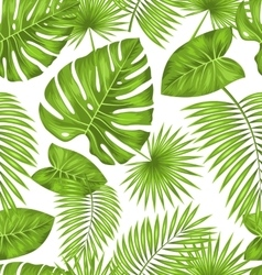 Seamless Texture with Green Tropical Leaves vector image vector image