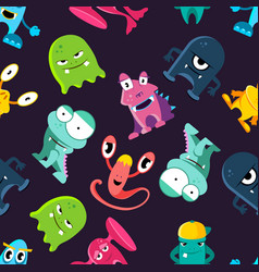 ugly but cute funny monsters seamless vector image