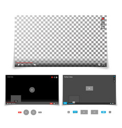 Video player interface template with vector